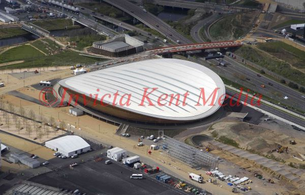Aerial view of the Velodrome, part of the Olympic site, London, UK