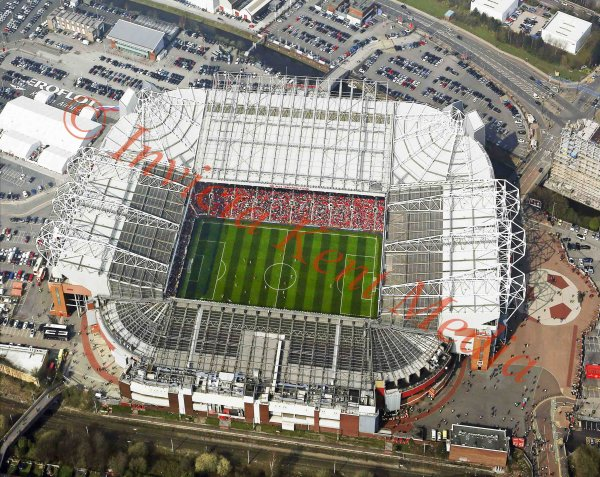 Aerial view of Old Trafford, home of Manchester United FC