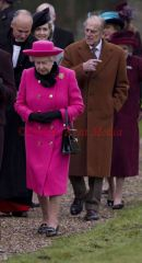 The Queen and Prince Phillip at Flitcham Church on the Sandringham Estate, UK