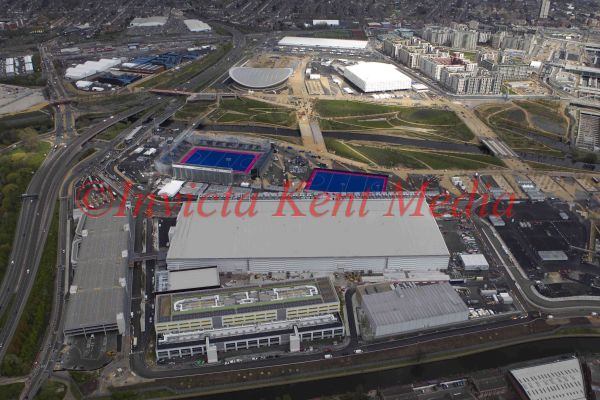 General aerial view of Olympic site, London, UK