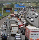 PICS SHOWS; Traffic queing on the M25in Kent  leading into the Dartford Tunnel on  the Easter Getaway Today