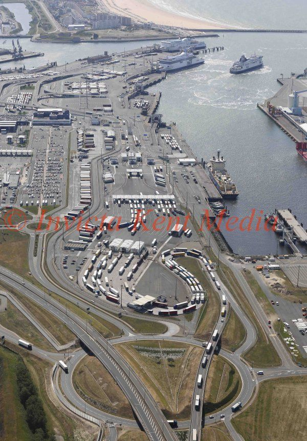 PIC SHOWS:- Aerial views of Calais harbour.