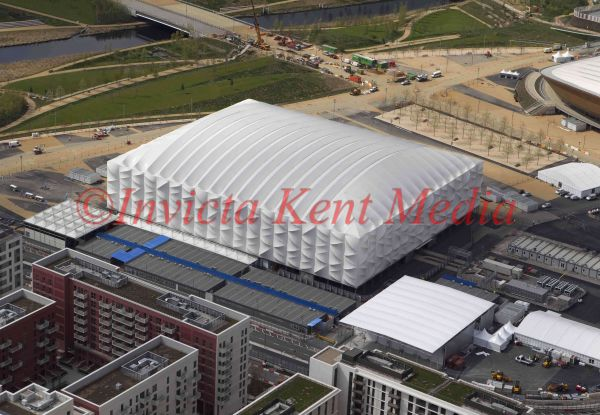 Aerial view of basketball arena, Olympic Park, London, UK