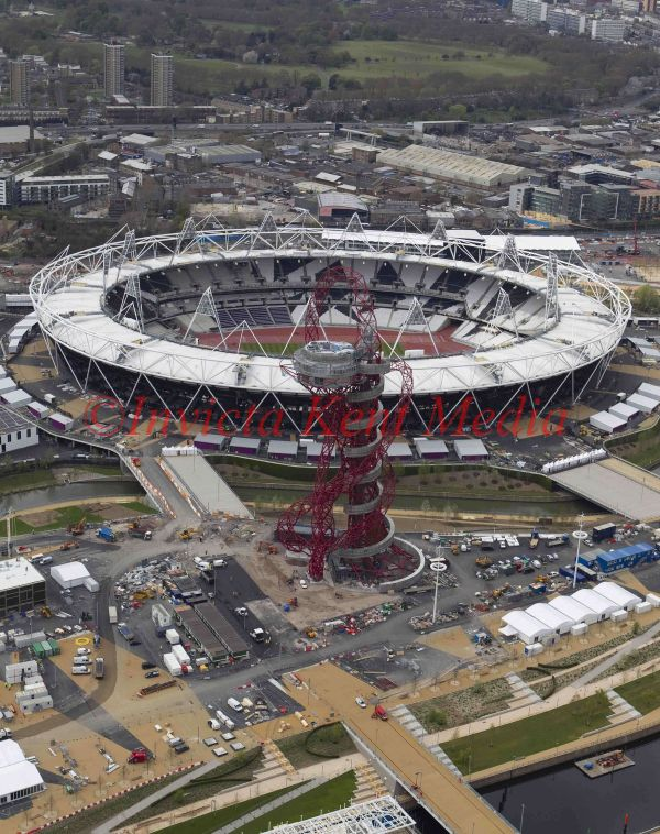 Aerial view of Olympic stadium and 377ft tall ArcelorMittal Orbit observation tower, designed by Anish  Kapoor, London, UK