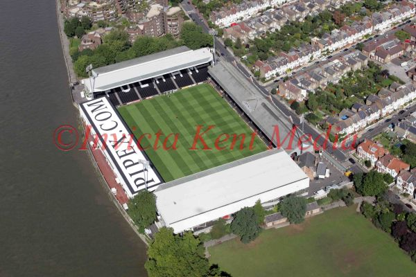 PIC SHOWS:- aerial view of Fulham FC ground.