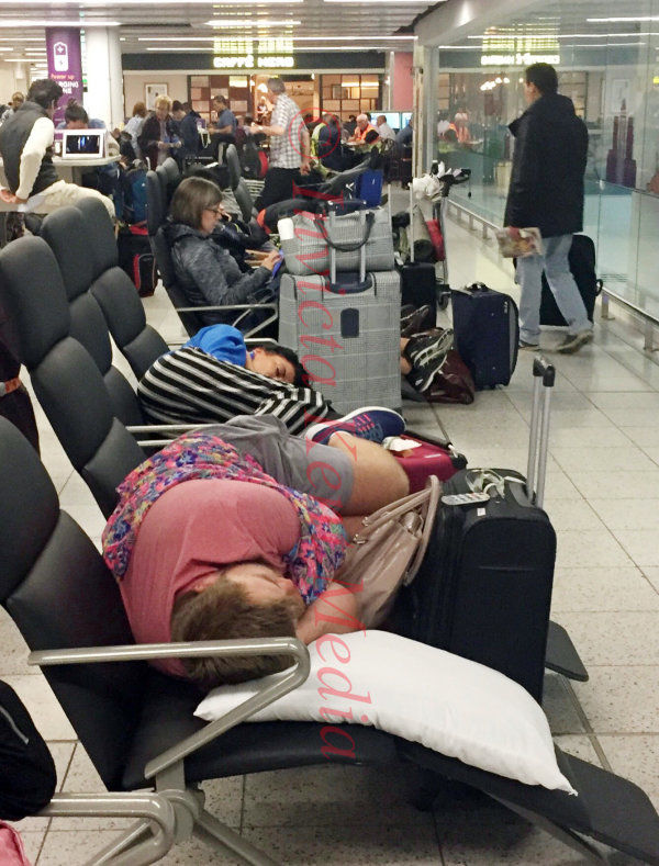 Pic shows:-  People sleeping at Gatwick South terminal today