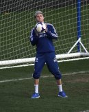 One Direction star Niall Horan continues his rehab from injury at Chelsea FC's Cobham training centre.