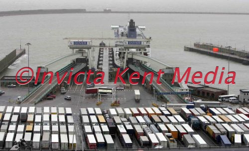 DOVER DOCKS WITH LORRIES QUEING TO GET ON FERRIES AFTER BAD WEATHER