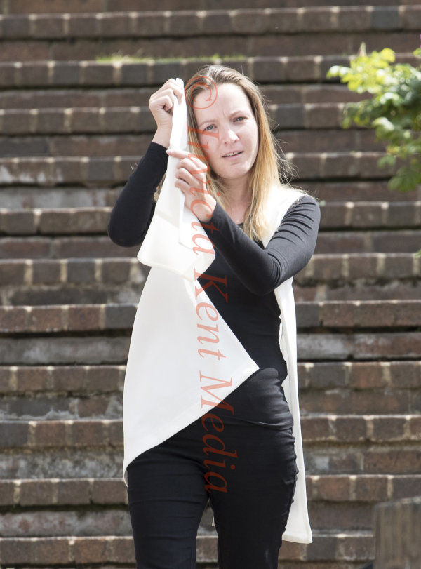 PIC SHOWS:Maidstone Crown Court Today Katy Anne Bethel leaves court  today found guilty with the People Smuggling of 12 Vietnamese illegal immigrants.At the Chanel Tunnel 2 years ago.She was pregnant at the time of the offence.