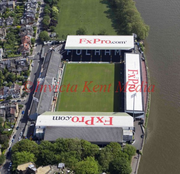 Aerial photo of Craven Cottage, home of Fulham FC, London