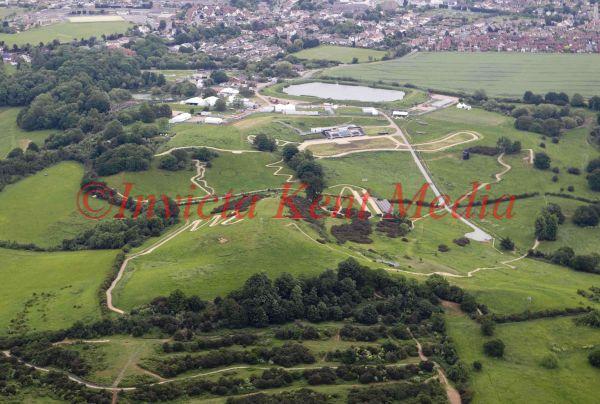 Aerial photo of Olympic mountain biking venue Hadleigh Farm International, Essex
