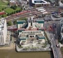 Aerial photo of The SIS Building, also commonly known as the MI6 Building, is the headquarters of the British Secret Intelligence Service