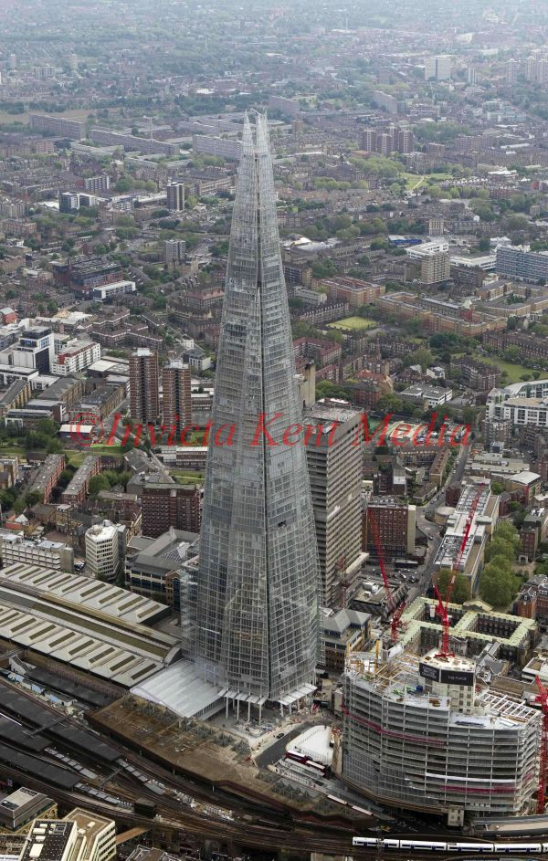 Aerial photo of the Shard London Bridge or The Shard (formerly known as London Bridge Tower
