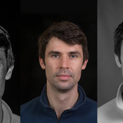 Portrait using UV reflected (left) visible light (centre) and infrared (right) techniques