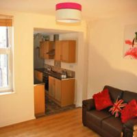 Open plan living area in a modernised 4 bedroom Loughborough student accommodation.
