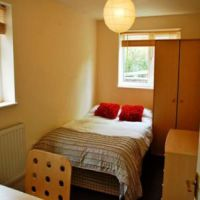 Modern bedroom with IKEA furniture, Loughborough student accommodation.