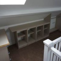 Built-in storage in attic bedroom of 56 Broad Street Loughborough student house.