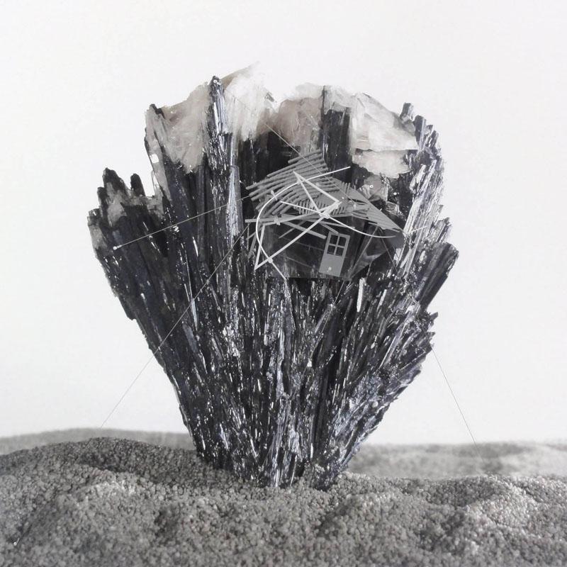 Radiances, (Black Romanian antimonite with barite reverb), 2011