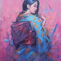 Blue Kimono on pink