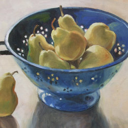 Blue Colander with Pears 2