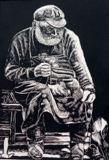 old man mending