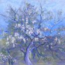 Old Almond Tree. Spring, Crete. Pastel.