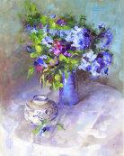 Bougainvillea in Blue Vase