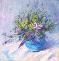 Roadside Flowers in Blue Vase