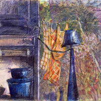 Julia's Kitchen Window, Pen and watercolour