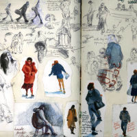 People in Leeds, Biro and Watercolour