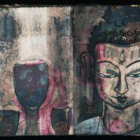 Buddha Head 3, Ink and Mixed media