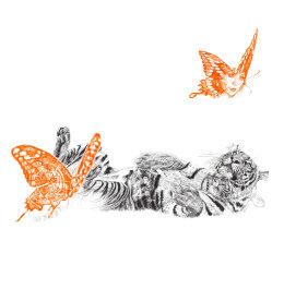 'Butterfly Lover', original black and neon orange Biro drawing