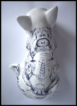 'Chernobyl Cat', Top View: black Biro drawing on found Ceramic Cat Figurine