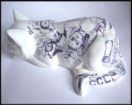 'Chernobyl Cat', Side View: black Biro drawing on found Ceramic Cat Figurine