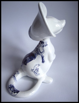 'Old Foe', Side View - black Biro drawing on found Unmarked Japanese Ceramic Mouse Figurine