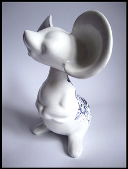 'Old Foe', side view with Tinkerbell - black Biro drawing on found Unmarked Japanese Ceramic Mouse Figurine