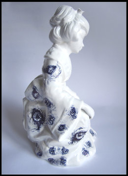 'Girl' from 'Girl and Dog', Side View - black Biro drawing on found Ceramic Geisha Figurine made in Taiwan
