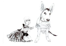 """""""Gretel and The Puppy"""",  2008 'Tales from the East' Series Black Biro Drawing 21cm x 30cm"""