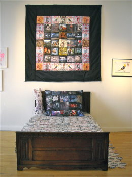 'THE WOODCUTTER'S QUILT', 2012 silk, embroidery and printed fabric 2m x 2m