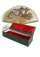 'Cherry Blossom Girl' display with fan and black Biro drawing of 'Amoy' on red silk inside fan box