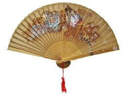 'Cherry Blossom Girl', colour Biro drawing on found Oriental Fan
