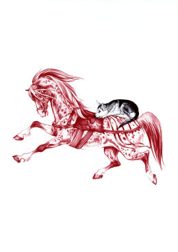 'The Horse and The Wolf Cub - After Janet and Anne Grahame Johnstone', 2009 'Tales from the East' Series 2009 Red and Black Biro Drawing 42cm x 30cm