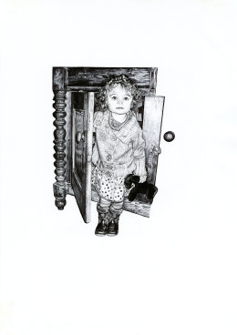 'The Sideboard I', 2009 'Tales from the East' Series Black Biro Drawing 42cm x 30cm