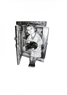 'The Sideboard III', 2009 'Tales from the East' Series Black Biro Drawing 42cm x 30cm