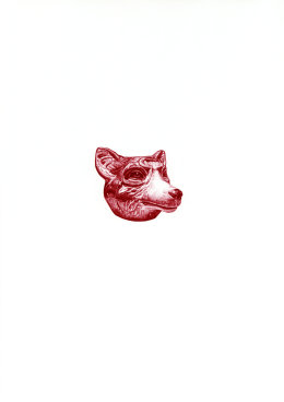 'Wolf Spill Vase II', 2009 'Tales from the East' Series Red Biro Drawing 42cm x 30cm