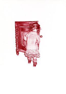 'The Sideboard II', 2009 'Tales from the East' Series Red Biro Drawing 42cm x 30cm