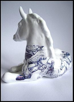 ''Odyssey' black Biro drawing on found Lomonosov Foal Figurine