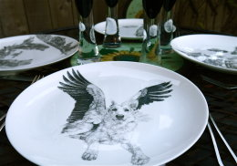 Magical Fine Dining al Fresco - Limited Edition Fine English China Coupe Plates
