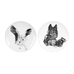 'Grey Wolves' Diptych Limited Edition Fine English China Coupe Plates