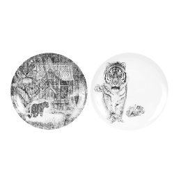 'Siberian Tiger' Diptych Limited Edition Fine English China Coupe Plate